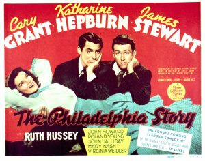 A poster for George Cukor's 1940 romantic comedy 'The Philadelphia Story', starring (left to right) Katharine Hepburn, Cary Grant and James Stewart. (Photo by Silver Screen Collection/Getty Images)
