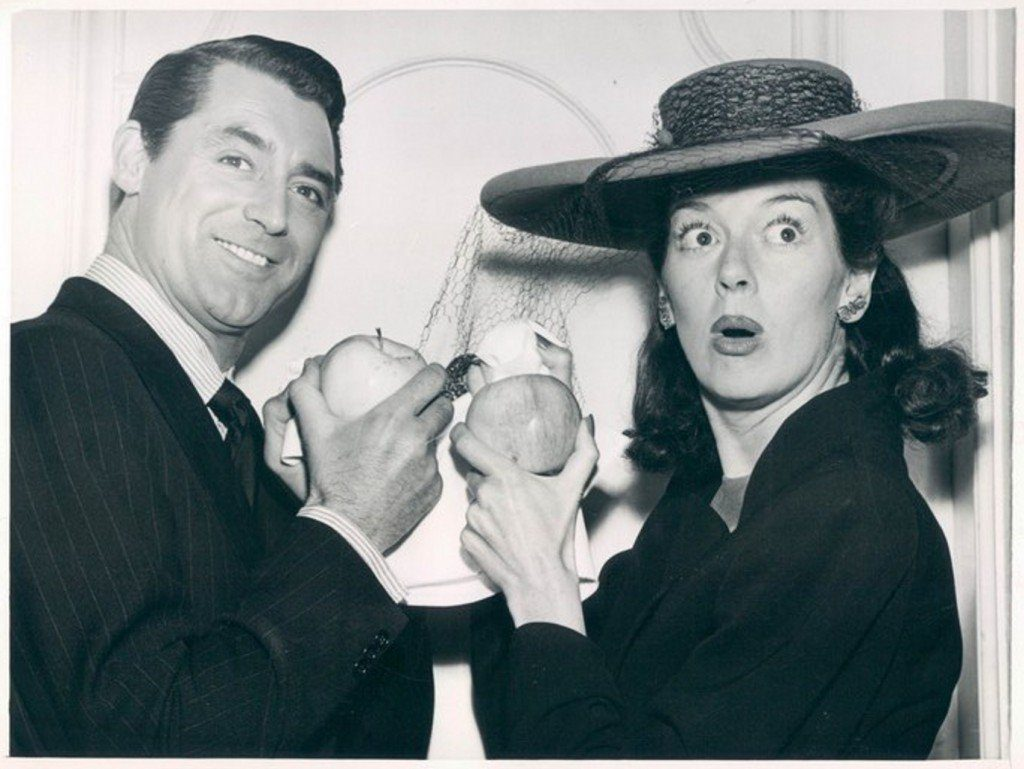 Cary Grant and Rosalind Russell receiving Golden Apple Prize